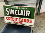 Sinclair Credit Cards Heavy Double Sided Porcelain Sign 23x 14 Near Mint