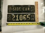 Ohio 1920 Collectible Motorcycle Side Car Plate W/1920 Motorcycle License Plate