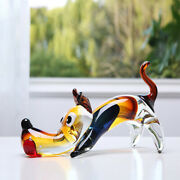 Nordic Blow Glass Dog Figurines Crystal Animal Sculpture Gift Ornaments