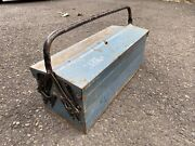 """Vintage 22"""" Metal Tackle Tool Box Union Steel Chest Corp Blue Cantilever Trifold"""