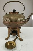 Vintage Solid Brass Pot With Burner Heavy Very Collectible Circa 1910