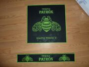 Patron Tequila New Bar Mat - Black And Green - 17andrdquo Square Plus Rail Mat