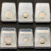 Ngc 3 Coin Lot 1965 Canada Silver Proof Set Pl64/pl65- Rainbow Toned