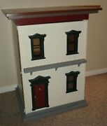Handmade Victorian Dollhouse Assembled And Painted Unfinished Inside 2 Large Rooms