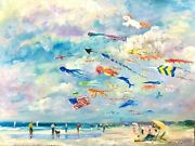 Listed 18x24 Nino Pippa Original Oil Painting Seattle Kite Abstract In Retro