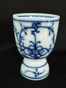 Vintage German Strawflower 3.5 Egg Cup Blue And White Traditional Plain Fluted