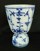 Vintage German Strawflower 4 Egg Cup Blue And White Traditional Plain Fluted