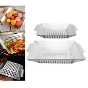 1pc Heavy Duty Barbecue Veggie Grill Basket For Meat Large Grid Pan Bbq Accs