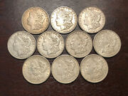 Lot Of 10 Morgan Silver Dollars Dated 1921 S. High Grade Au Silver Coin Set