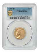 1909-d 5 Pcgs Ms64 - Great Type Coin - Indian Half Eagle - Gold Coin