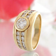 Solitaire Ring In 750/18k Gold Solitaire 0.58ct Tw / Vs+ 0.61 Ct Vs Handmade