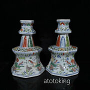 Chinese Antiques Ming Xuande Years Multicolored Mandarin Ducks Wax Table A Pair