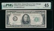 Ac 1934a 500 Five Hundred Dollar Bill Chicago Pmg 45
