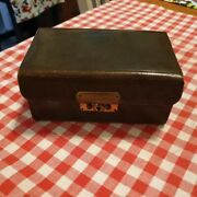 Antique Leather Jewelry Box Cantilever Display Presentation Box Rare Green