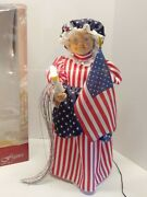 Rare 2002 Mrs. Claus Lighted Motion Animated American Flag Patriotic 24 Tall
