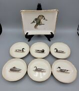 1962 Delano Studios 6 Piece Waterfowl Duck Coasters And Signed Card/tip Tray