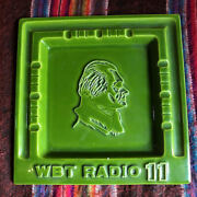 Advertising Ceramic Ashtray Mid Century Wbt Radio 11 As Is A Few Chips 10.5