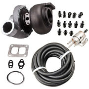 Gt45 Turbocharger T4 V-band +fuel Line Fitting Adapter Boost Horse Power 600+bhp