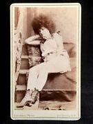 Cdv Circus Sideshow - Moss Haired Hottie - Sexy Legs And Boots Girl - Pt Barnum