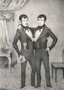 1839 Litho Chang And Eng - Broadbill Circus Poster - Barnum - Famous Siamese Twins