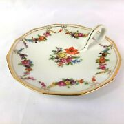 Beautiful Floral With Gold Trim Porcelain Finger Candy Dish Plate Loop Handle 6