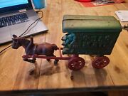 Vintage Cast Iron U.s.mail Horse And Wagon With Driver