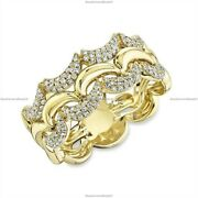 14k Yellow Gold Natural Diamond Crescent Band Engagement Ring For Women