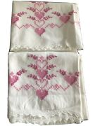 Pair Of Vintage White Pillowcases With Embroidered Hearts And Crochet Edging