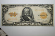 1922 50 Large Size Gold Certificate Yellow Seal Grading Very Fine Jena-275