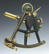 19th Century Marine Brass Sextant Signed Crichton And Son Inlaid Silver Arc