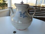 Teapot Seagrove Nc Handmade Pottery By M.l. Owen White-gray With Cobalt Decor