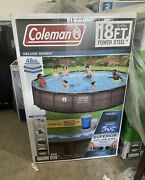 🌋 Coleman Power Steel Frame 18ft X 48in Round Above Ground Pool Set 18'x48 🌊