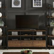 Rustic Brown Tv Stand Console Table Modern Entertainment Enter W/drawers Shelves