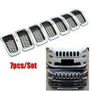 7x Chrome Front Grill Grille Insert Ring Cover Trim Kit For Jeep Cherokee 14-18
