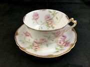 Haviland Limoges Schleiger 1151 Pink Yellow Baltimore Rose Cup And Saucer