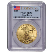 Certified American 50 Gold Eagle 2015 Ms70 Pcgs First Strike
