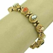 Estate Coral Mother Of Pearl And Shell Cameo 14k Yellow Gold Slide Bracelet