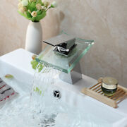 Bathroom Square Glass Waterfall Spout Vessel Basin Sink Tap Mixer Chrome Faucet