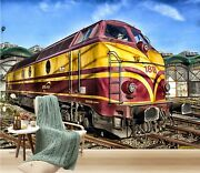 3d Train Head O646 Transport Wallpaper Mural Self-adhesive Removable Amy