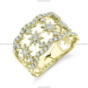 Gift For Her 14k Yellow Gold Natural Diamond Star Band Birthday Ring