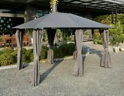 Gsd 3m X 4m Large Lilly Gazebo With Side Curtains Grey. Great Gazebo Great Price