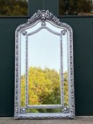 Large French Louis Xvi Style Silver Leaf Floor/wall Mirror