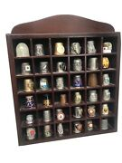 Thimble Display Case With 36 Pewter Thimbles Lovely Unique Collectibles Wooden