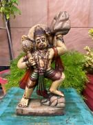 Antique Marble Stone Hand Carved Painted Hindu God Hanuman Statue Old Sculpture
