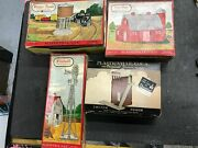 Four Plasticville O Gauge Windmill Water Tank Dairy Barn Switch Tower