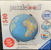 Ravensburger, 3d Puzzleball Globe, 540 Pieces, Puzzle, New, Sealed, With Stand