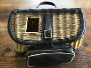 Vintage Wicker Fishing Creel Handled Naugahyde Front Pouch And Trim