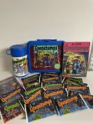 Huge Lot 90s Goosebumps Book50, Lunchbox With Thermos, 16 Card Packs And Buttons