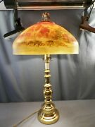 Huge Electric Table Lamp Reverse Hand Painted Shade Landscape Scene 15 1/2 Wide