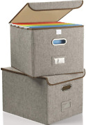 Collapsible File Box With Lid [2-pack] Decorative Documents Storage Organizer Wi